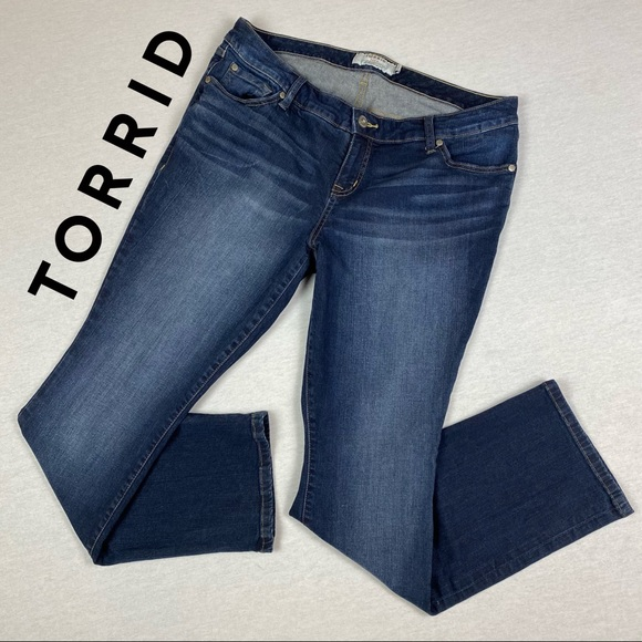 Torrid Distressed Barely Boot Jeans w/ Whiskering